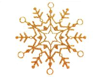 Snow star. Gold brocade snow star isolated on white royalty free illustration