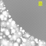 Snow, star, glitter line on a transparent background. Vector illustration . Abstract snowflake background. Festive shine Stock Photo