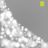 Snow, star, glitter line on a transparent background. Vector illustration . Abstract snowflake background. Festive shine Royalty Free Stock Photo
