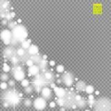 Snow, star, glitter line on a transparent background. Vector illustration . Abstract snowflake background. Festive shine Royalty Free Stock Images