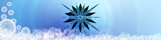 Snow, star and snowflakes Royalty Free Stock Image