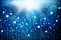 Snow and stars are falling on the background. Abstract air background blue burst celebration christmas fairytale vector illustration