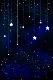 Snow and stars are falling on the background of bl. Abstract air background blue burst celebration christmas royalty free illustration