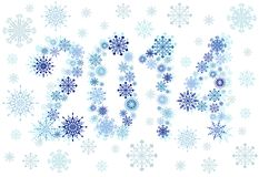 2014 snow stars. New year 2014 by snow stars background vector illustration stock illustration