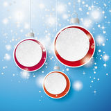 Snow Stars Three Baubles Background Stock Photos