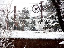 Snow step catenary Stock Photo