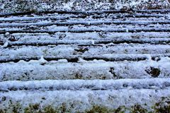 Snow on steps stock photos