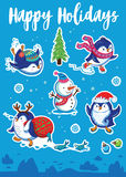 Snow sticker set with cartoon penguins, snowman and snowflakes. Happy Holidays. Set of Merry Christmas and Happy New Year stickers or magnets. Cartoon Penguin Royalty Free Stock Images
