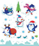 Snow sticker set with cartoon penguins, snowman and snowflakes. Set of Merry Christmas and Happy New Year stickers or magnets. Cartoon Penguin skating, slides Royalty Free Stock Photography