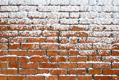 Snow sticking to an old brick wall. Stock Images