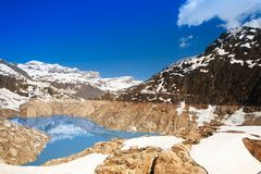 Snow is still melting Emosson dam Royalty Free Stock Photo