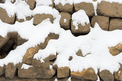 Snow stone wall Royalty Free Stock Image