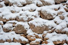 Snow on Stone Wall Royalty Free Stock Images