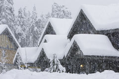 Snow Storm. Snow piles up deep in a condo subdivision during a winter storm Stock Images