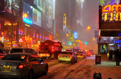 Snow storm on 42 street, new york city. A shot of 42 street in the snow blizzard Royalty Free Stock Photo