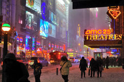 Snow storm in 42 street, nyc Stock Image