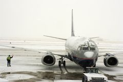 Snow Storm on the airport Stock Images