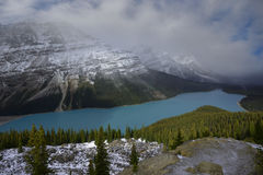 Snow storm apporching Peyto Lake Stock Images
