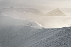 Snow storm atop of Kasprowy Wierch in Zakopane in Tatras in wint Stock Photography