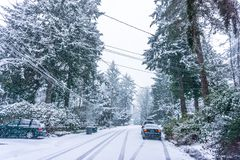 Snow Storm In Burien 7. A snow storm begins in Burien, Washington royalty free stock photo