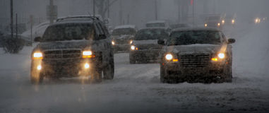 Snow storm in Chicago, Il stock photos