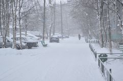 Snow-storm on the city street. royalty free stock photography