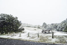 Snow storm covering picnic bench table in park Royalty Free Stock Photos