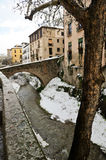 Snow storm with slush on sidewalks. Granada Royalty Free Stock Photography
