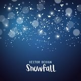 Snow storm effect with falling snowflakes. Vector illustration Stock Image