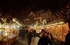 Snow Storm at Esslingen Christmas Market Stock Photo