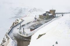 Snow storm at the Gornergratbahn upper station, Zermatt, Switzerland. Royalty Free Stock Photos