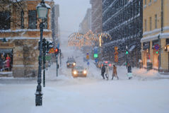 Christmas Snow Storm in Helsinki Stock Photography