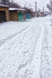 Snow storm hits city. street after blizzard. Snow storm hits town. Street after snow blizzard Stock Photo