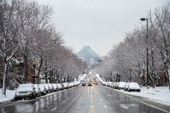 Snow storm hits Montreal, Canada images stock