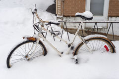 Snow storm hits Montreal, Canada photo stock