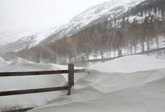 Snow storm in the Alps. Royalty Free Stock Photos