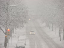 Snow Storm in Milwaukee, Wisconsin Royalty Free Stock Image