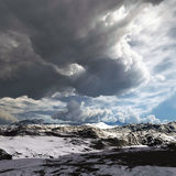 Snow storm in the mountains. Winter day Royalty Free Stock Photography