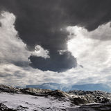 Snow storm in the mountains. Winter day Royalty Free Stock Images