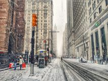 Snow storm in New York Royalty Free Stock Image