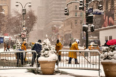 Snow storm Niko in New York City February 9th, 2017 Royalty Free Stock Images