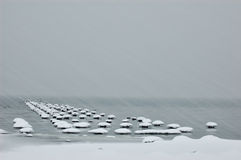 Free Snow Storm On Lake Stock Image - 10066121