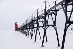 Snow storm over South Haven South Pier Royalty Free Stock Photo