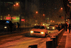 Snow storm in port athority, new york city. A shot of of a cab by port athority in the snow blizzard Royalty Free Stock Photo