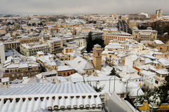 Snow storm with slush on sidewalks. Granada Stock Photography