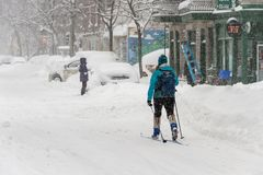 Snow storm Stella in Montreal royalty free stock photos