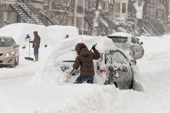 Snow storm Stella in Montreal stock photos