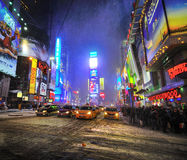 Snow storm in times square, new york city Royalty Free Stock Images