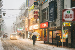 Snow storm in Tokyo Japan Royalty Free Stock Image
