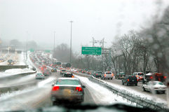 Snow Storm Traffic Stock Photo